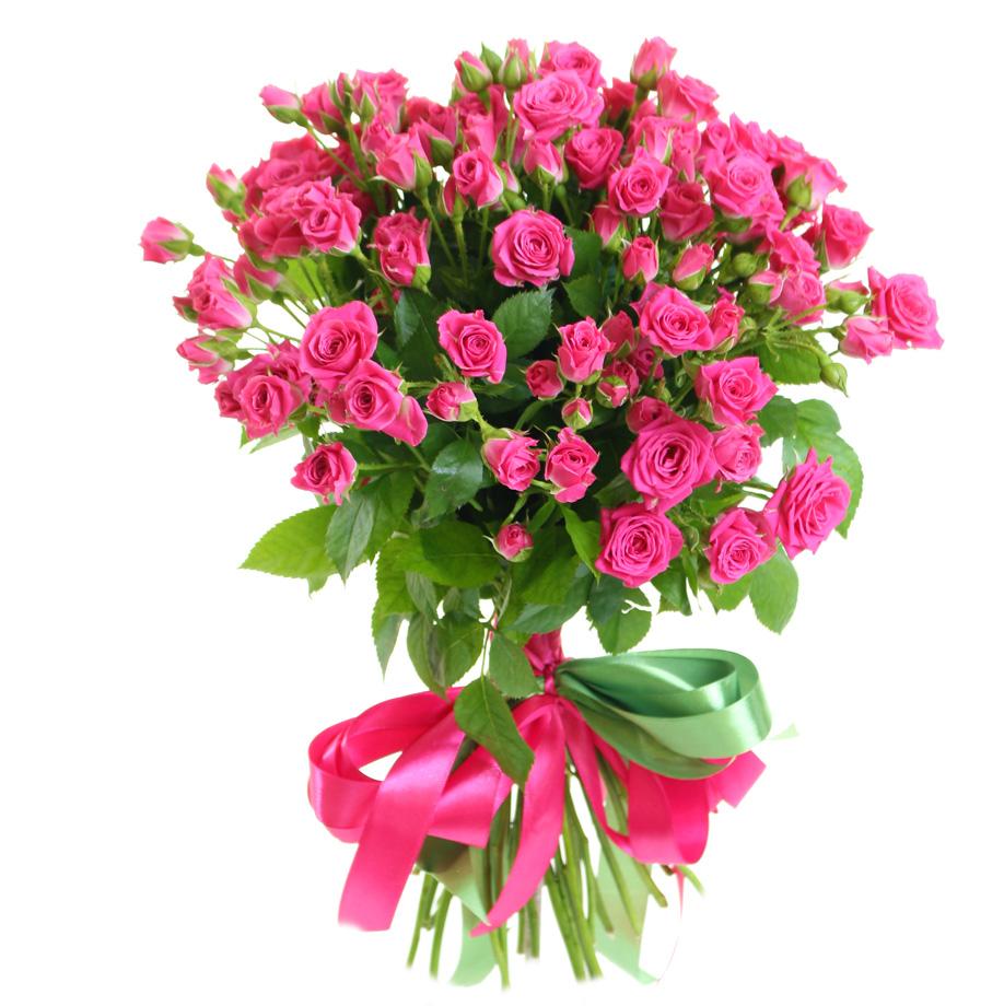 25 розовых кустовых роз