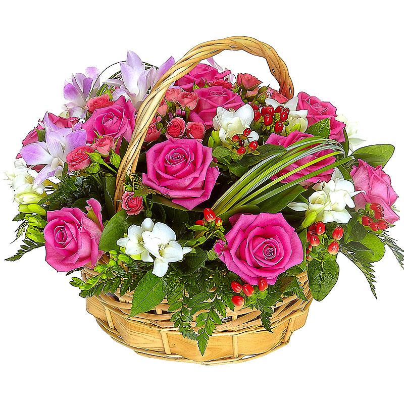 Открытки маме, цветы в корзинке открытка