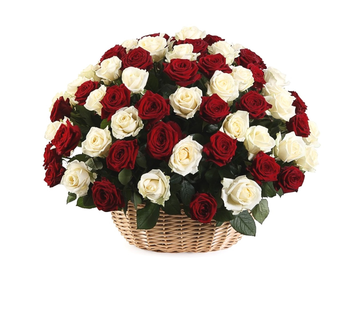 Открытка розы белые и красные