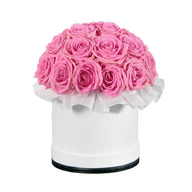 21 розовая роза в шляпной коробке