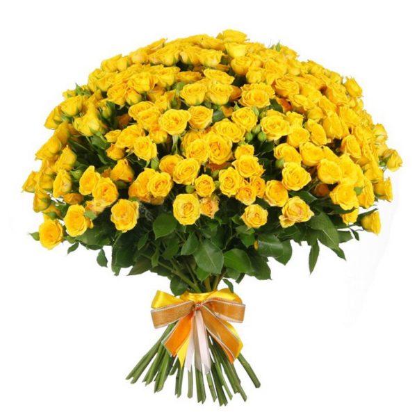 51 желтая кустовая роза