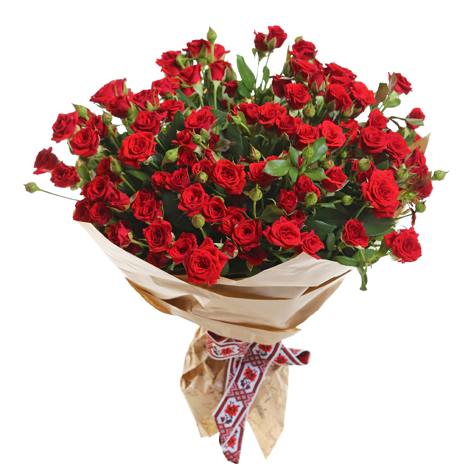 25 красных кустовых роз