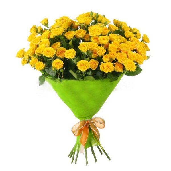 25 желтых кустовых роз