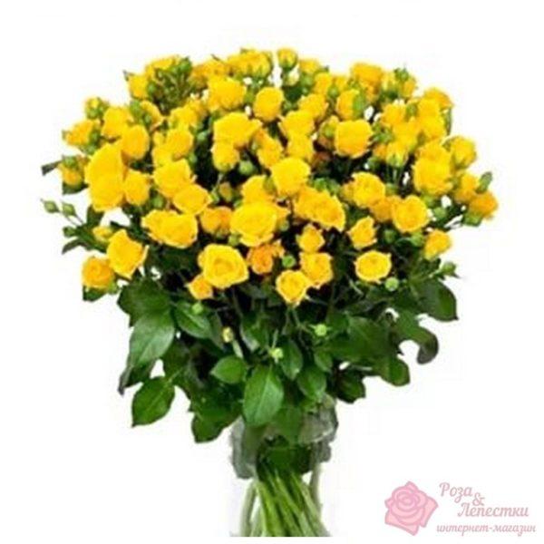 15 желтых кустовых роз