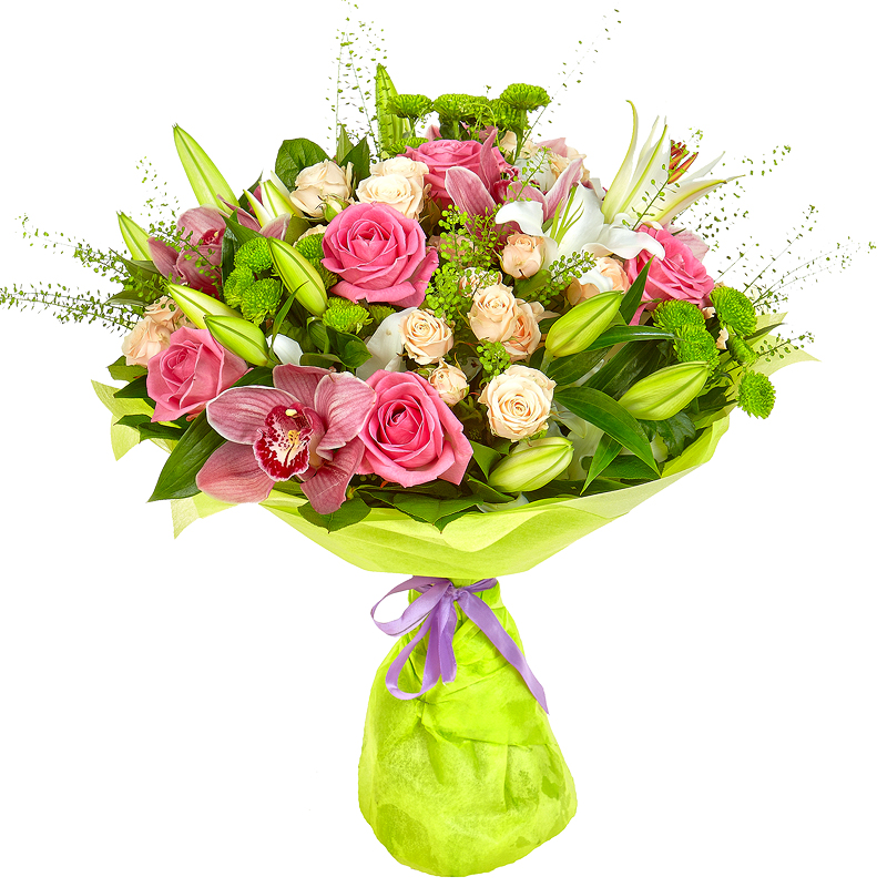 Букет невесты, букет из кремовых роз и лилий