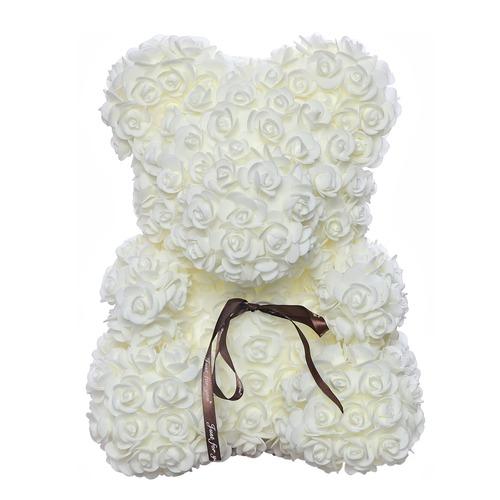 Белый мишка из роз 40 см