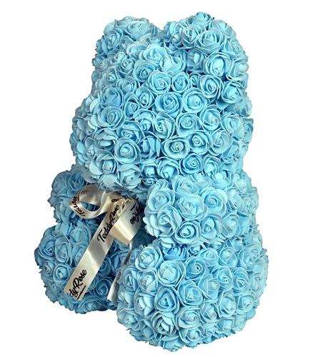 Голубой мишка из роз 40 см