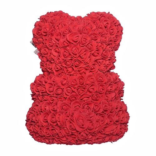 Красный мишка из роз с сердцем