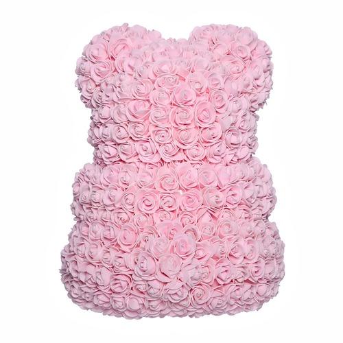 Светло-розовый мишка из роз 40 см