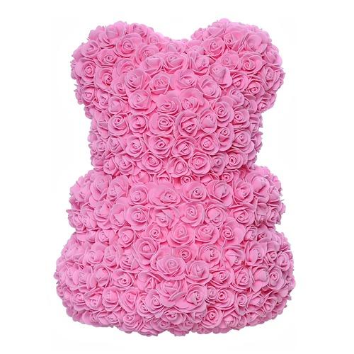Розовый мишка из роз 40 см