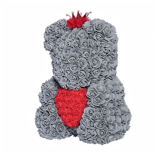 Серый мишка из роз с сердцем 40 см