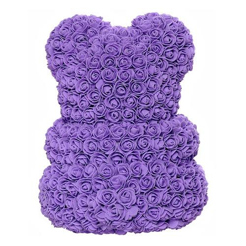 Фиолетовый мишка из роз 40 см
