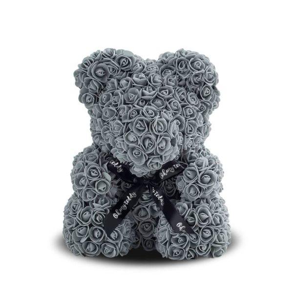 Серый мишка из роз 40 см