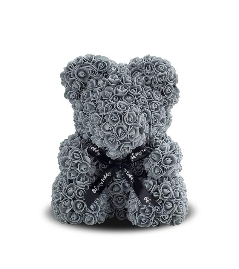 Серый мишка из роз
