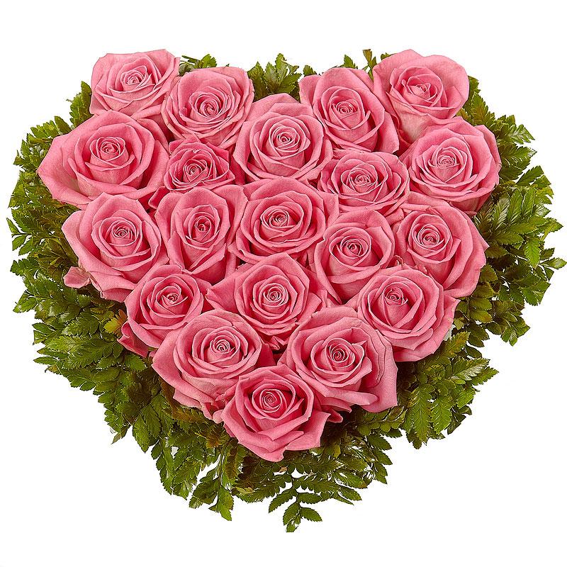 Розовое сердце из 25 роз