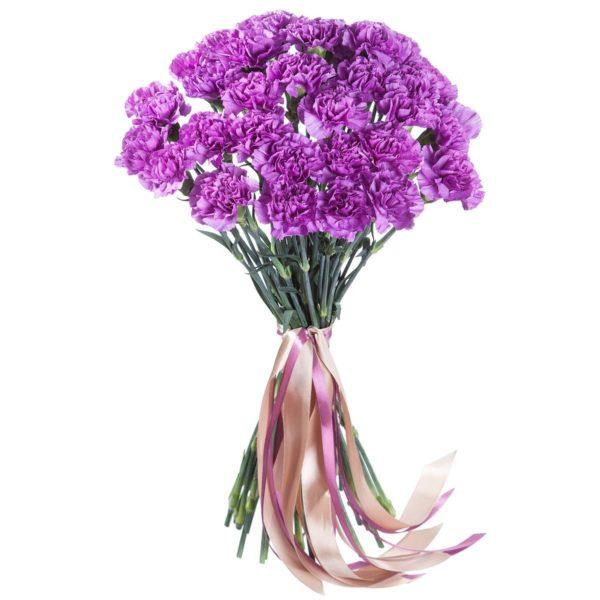 Букет из 25 фиолетовых гвоздик