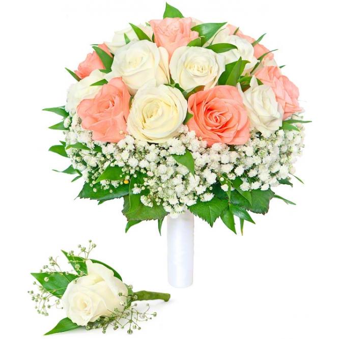 Букет невесты из кремовых, белых роз и гипсофилы