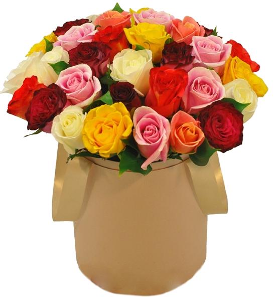 31 роза микс в коробке