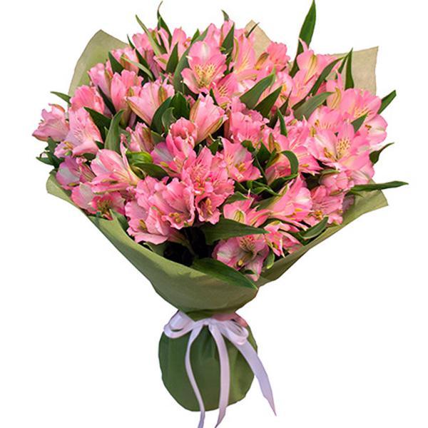 Букет из 19 нежно-розовых альстромерий