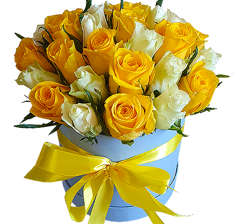 21 желто-белая роза в шляпной коробке