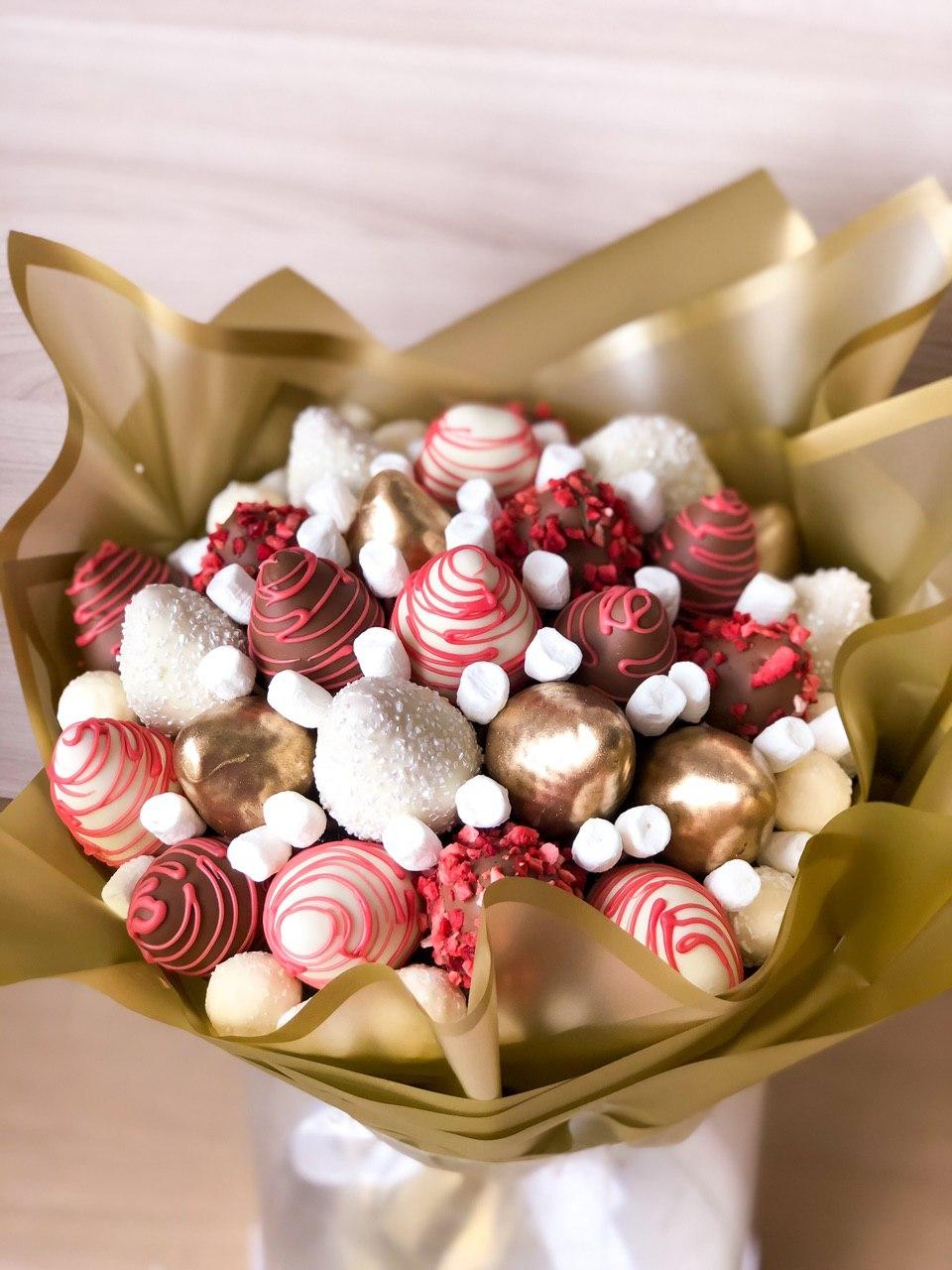 Букет из клубники в шоколаде 25 ягод